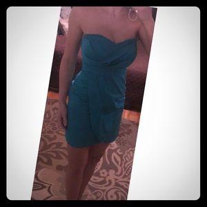 Teal strapless sweetheart neckline mini dress